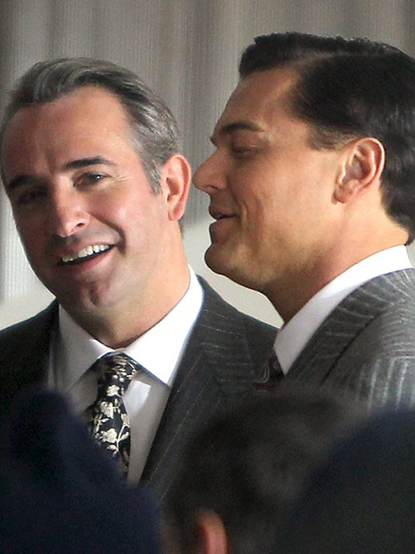 Jean Dujardin et Leonardo Dicaprio sur le tournage de The Wolf of Wall Street (©AKM-GSI)